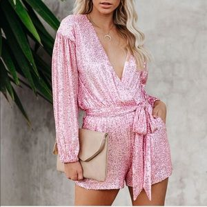 VICI Collection sequin romper with belt